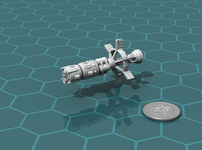 Earther Heavy Cruiser 3d printed Render of the model, with a virtual quarter for scale.