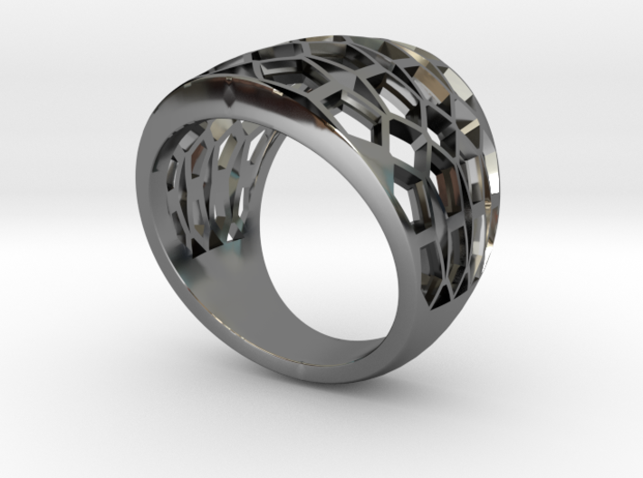 Domed Geometric Lattice Pattern Ring 3d printed