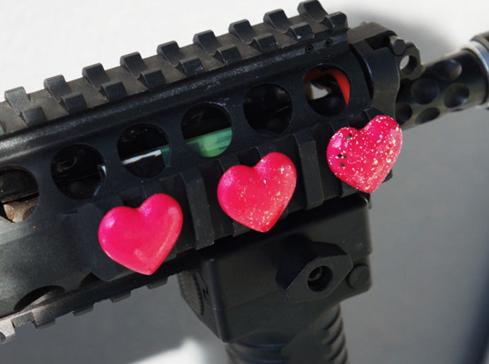 Rail_Badge_Heart 4 set 3d printed Painted and topcoated.