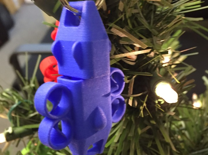Keychain Ducted Fan Quadcopter 3d printed Blue Keychain shown being used as a Christmas tree ornament. Key ring does not come with product.