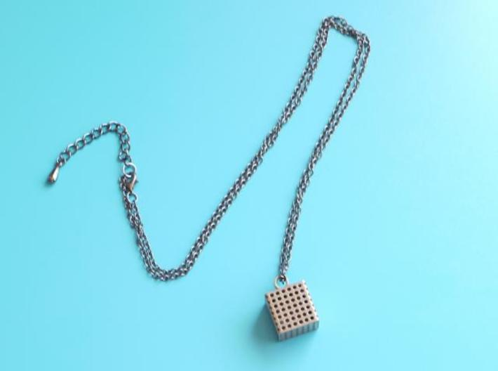 Perforated Cube Pendant  3d printed on gunmetal chain. add you own chain.