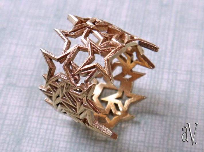 Scatter 4 Sided Stars Ring 3d printed