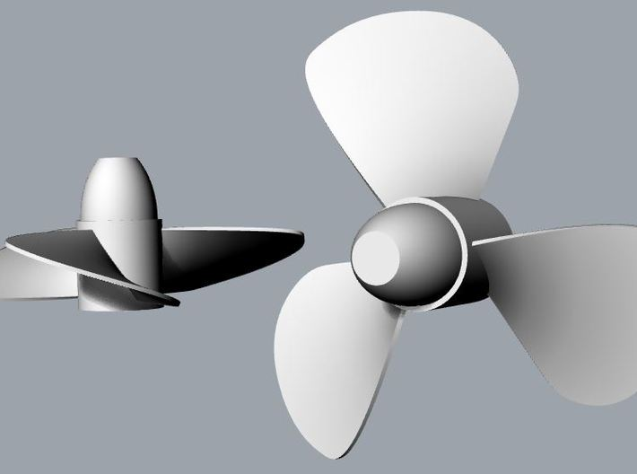 40mm Dia. 3 Bladed ship Propeller (CCW Rotation) 3d printed Prototype Render