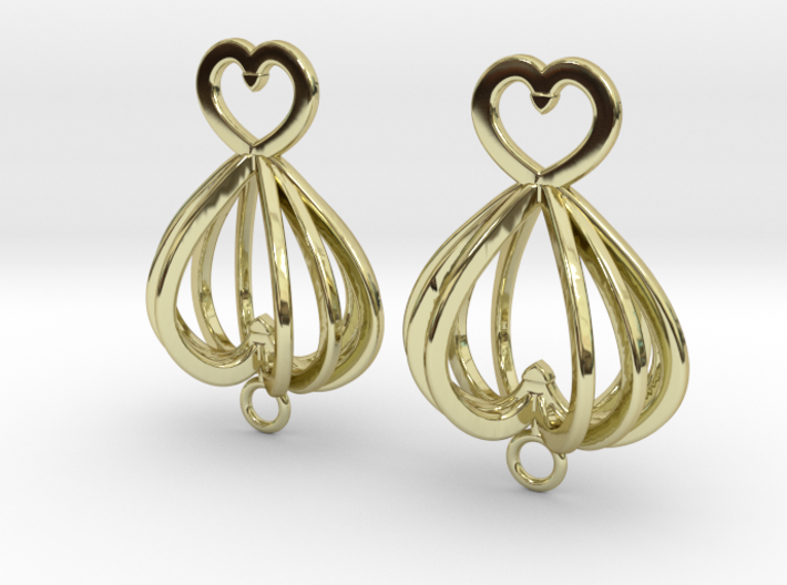 Open Heart Earrings in Precious Metals 3d printed