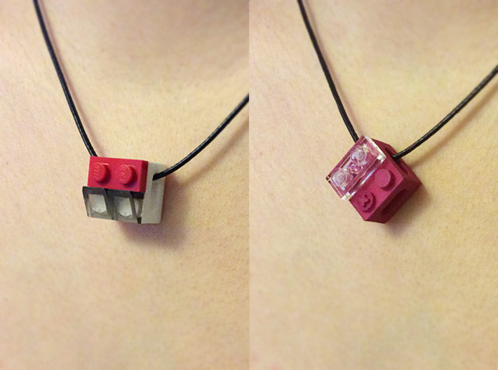 bX Necklace (2x2) 3d printed White Strong & Flexible Polished (String and Lego pieces not included)