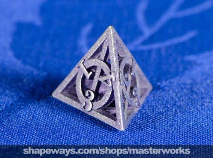 Deathly Hallows d4 3d printed Stainless Steel
