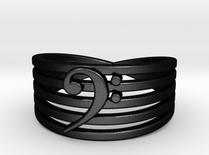 Bass Clef Ring 3d printed