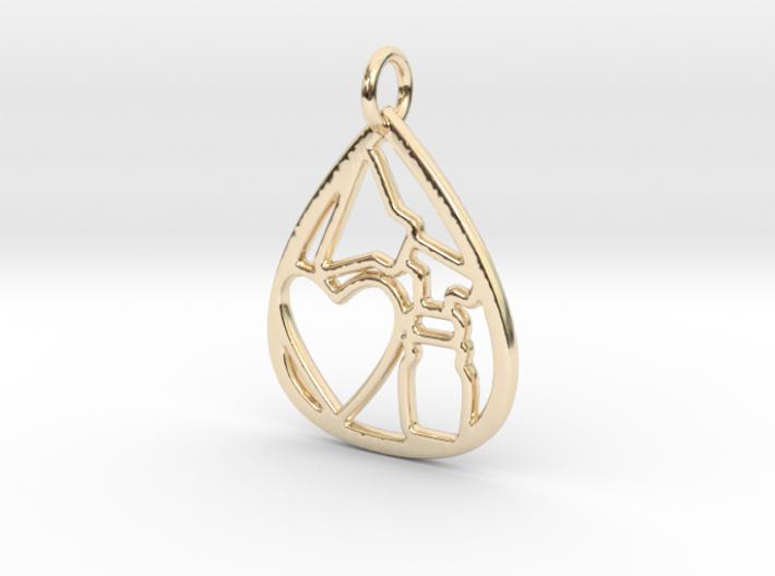 Mama's Milk Drop Pendant; Pump & Heart 3d printed 14k Gold Plated