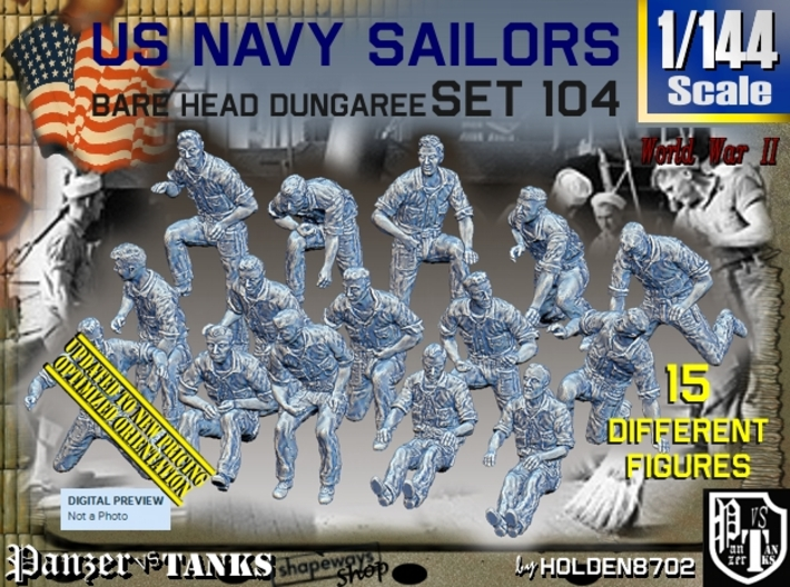 1/144 USN Dungaree Barehead Set104 3d printed