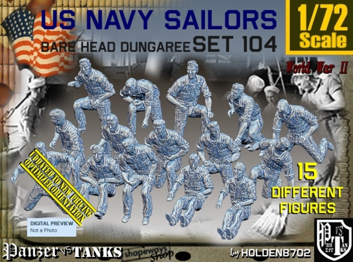 1/72 USN Dungaree Barehead Set104 3d printed
