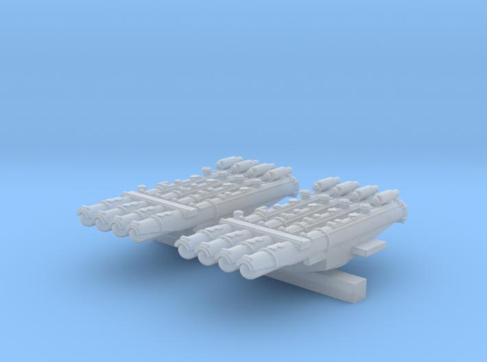 "1/700 RN Tribal Class Quad 21"" Torpedo Tubes 3d printed"
