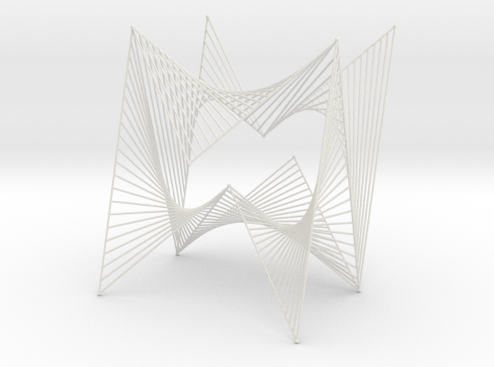 String Art Sculpture - Simple Straight Lines Curve 3d printed