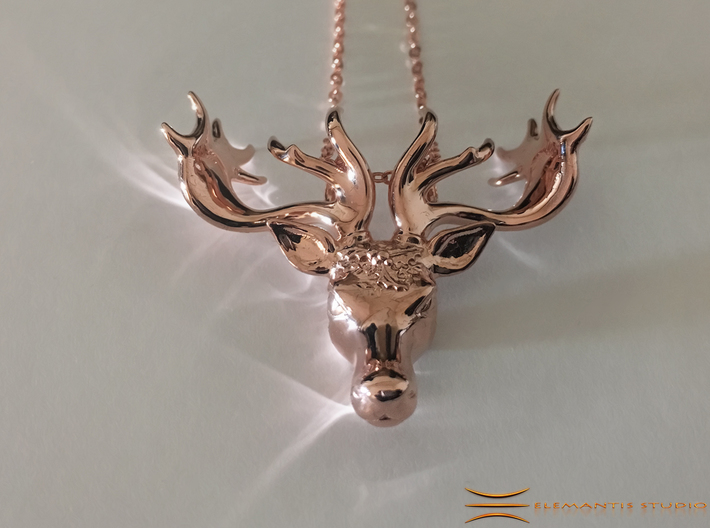 Mistletoe Reindeer Pendant/ Ornament 3d printed Rose gold plated brass (Chain not included)