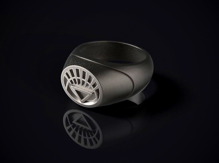 22.2 mm White Lantern Ring - WotGL 3d printed 3D render of the ring in Stainless Steel