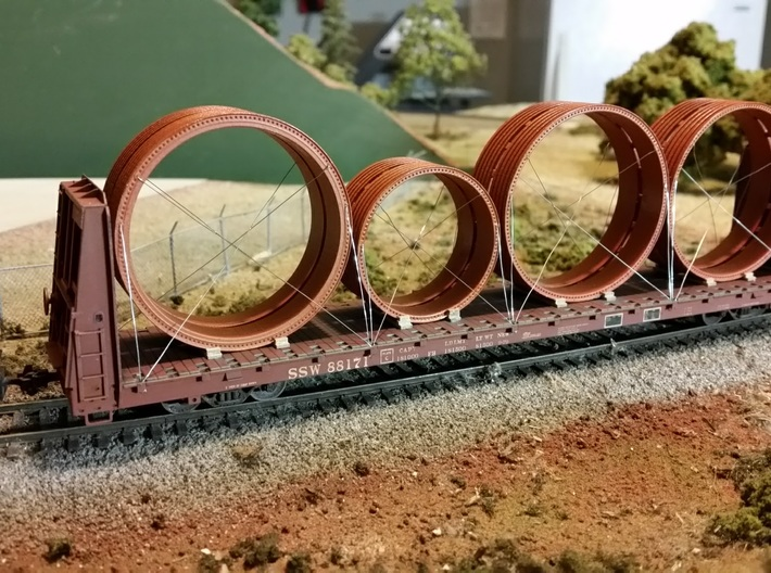 HO Ring Load 3d printed Bracing, tiedown wire and flatcar not included