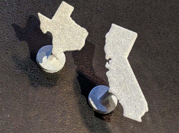 California Cufflink - Curved Bar 3d printed Mix and match states!
