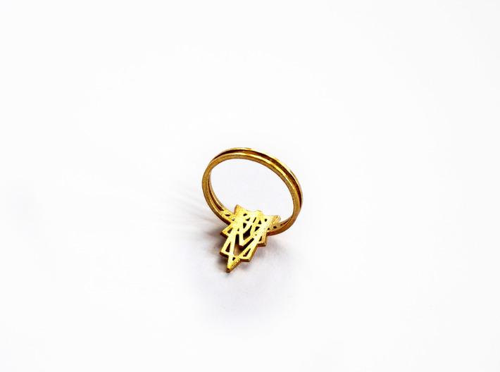 Viridiana Ring 3d printed Viridiana Ring in Raw Brass