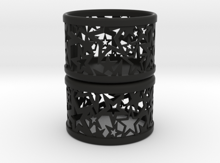Set of 2 small tealight holders with Stars 3d printed