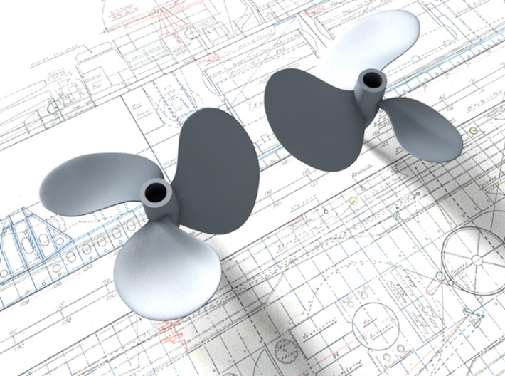 1/72 Royal Navy Tribal Class Propellers 3d printed 3d render showing product detail