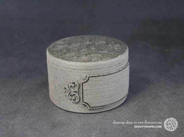 Gift Box big with Stars, Ornament & Label No. 3 S 3d printed The photo shows an own print (FDM print) made of black wood.