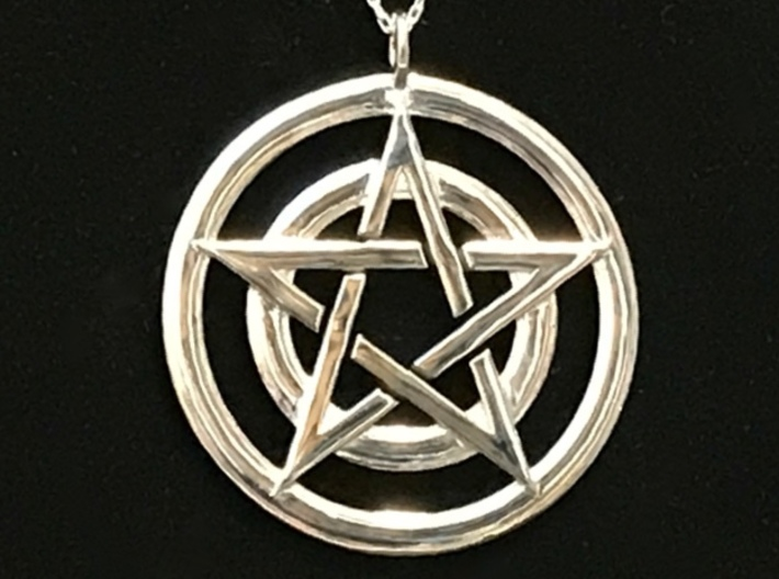 Pentacle Pendant - Circles 3d printed Pentacle circle pendant in rhodium plating over polished brass