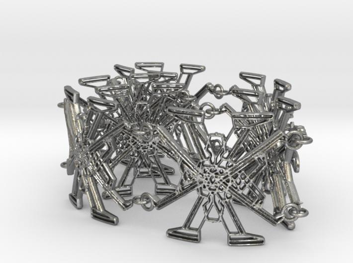 Metal X Bracelet Big 34 cm long 3d printed
