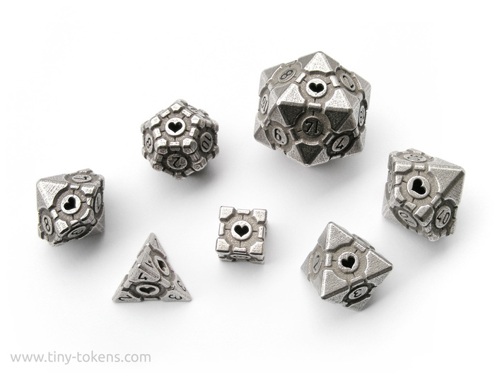 Companion Cube Polyhedral 7 Dice Set (+ decader) 3d printed