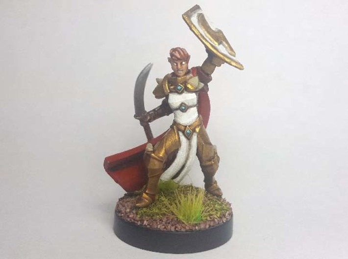 Elf Eldritch Knight (Modular) 3d printed Painted with acrylic paints and mounted on a 1 inch base.