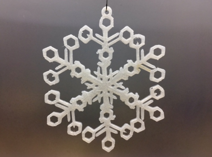 "Organic Snowflake Ornaments - Stack of 6 3d printed 3D printed FDM prototype of the ""Switzerland"" ornament"