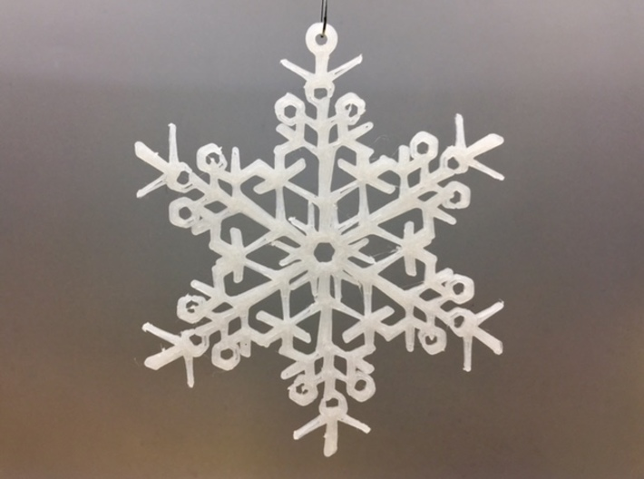 "Organic Snowflake Ornament - Finland 3d printed 3D printed FDM prototype of the ""Finland"" ornament"
