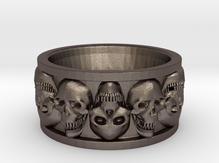 FacedSkull ring 3d printed