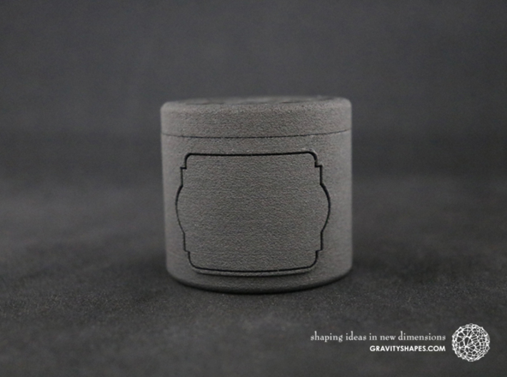 Gift Box small with Stars & Label No. 2 (solid) 3d printed The photo shows a print made of black strong and flexible.
