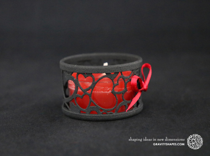 Small tealight holder with Hearts  3d printed The photo shows a print made of black strong and flexible incl. red lacing.