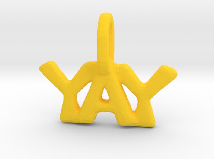 """Yay"" Pendant 3d printed"