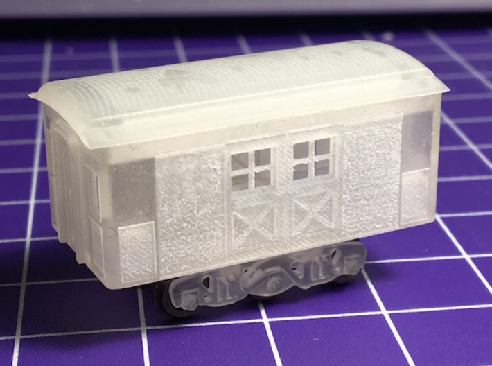 N Scale 20 foot Baggins Heavyweight Baggage Car 3d printed Raw model before cleaning. Truck not included