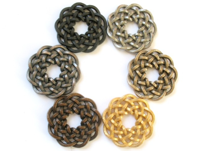 Woven Starburst Pendant 3d printed Pendants printed in all the stainless steel finishes
