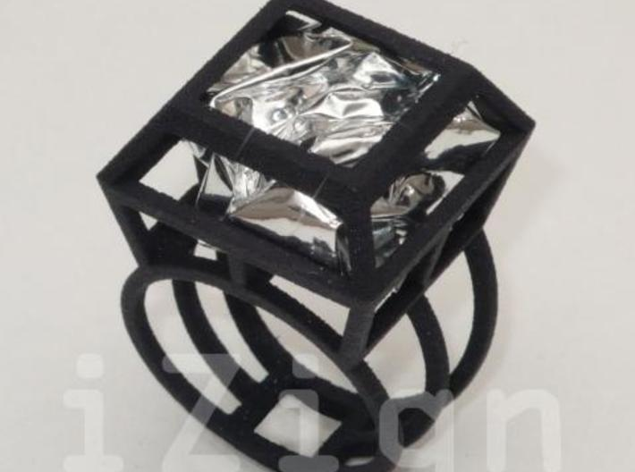 ring06 22 3d printed Black Strong & Flexible dressed up with a silver wrapper (not included)