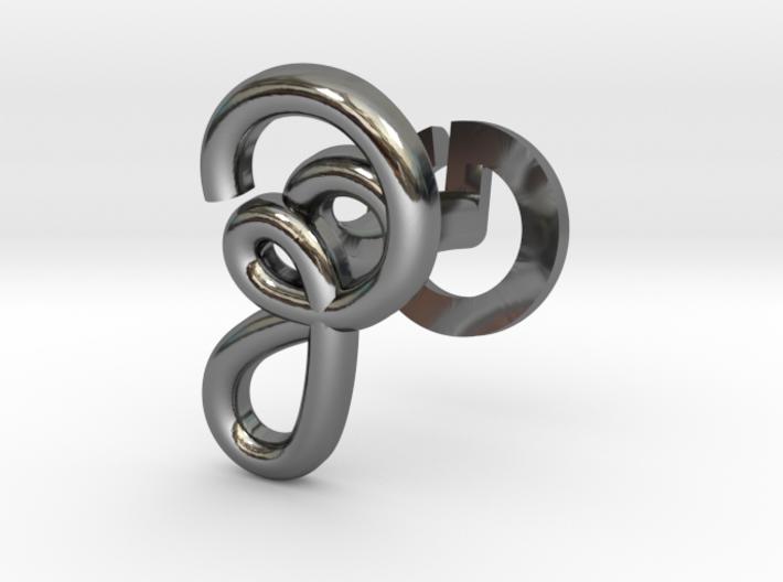Cursive Z Cufflink 3d printed