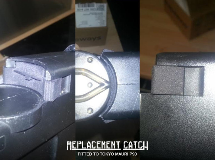 Airsoft AEG P90 Magazine Release Catch 3d printed 3D printed catch fitted and in use . Courtesy of Jasont21 from the ZeroIn forum.