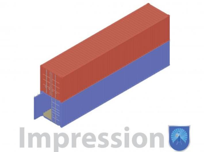 40ft shippingcontainers 12 pieces 3d printed Impression of a few shipping containers (red type A)(blue type B)