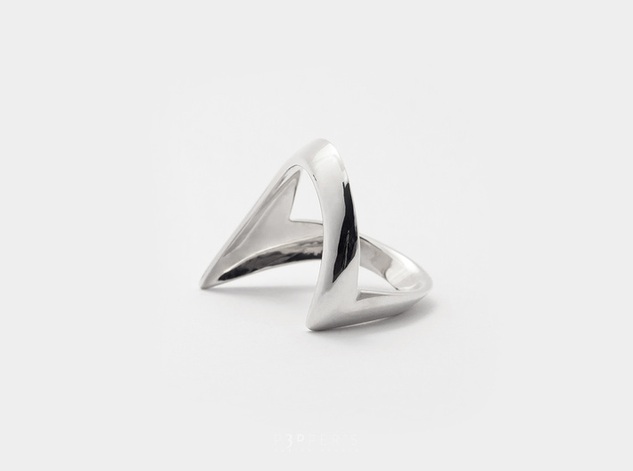Wishbone Ring . Inspired by Tradition 3d printed A wishing tradition of good luck . Wishbone Ring . 3D print in Polished Silver, oxidized and hand-polished.