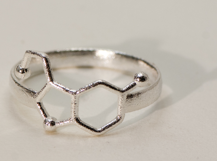 Serotonin Ring:  size 9 3d printed RAW Sterling Silver