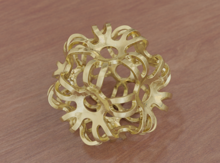 Outward Deformed Symmetrical Sphere 3d printed Polished Gold (render)