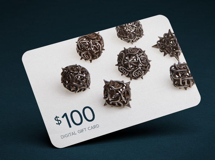 $100 Digital Gift Card 3d printed