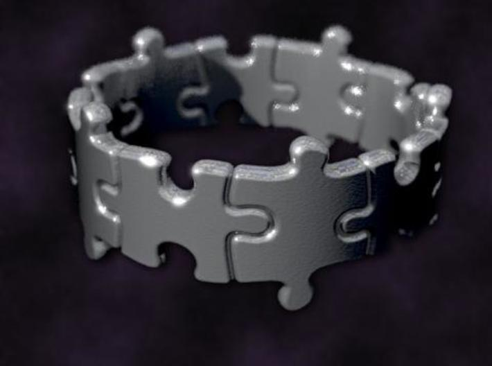 Puzzle Ring 01 size 11 3d printed Rendered to simulate silver