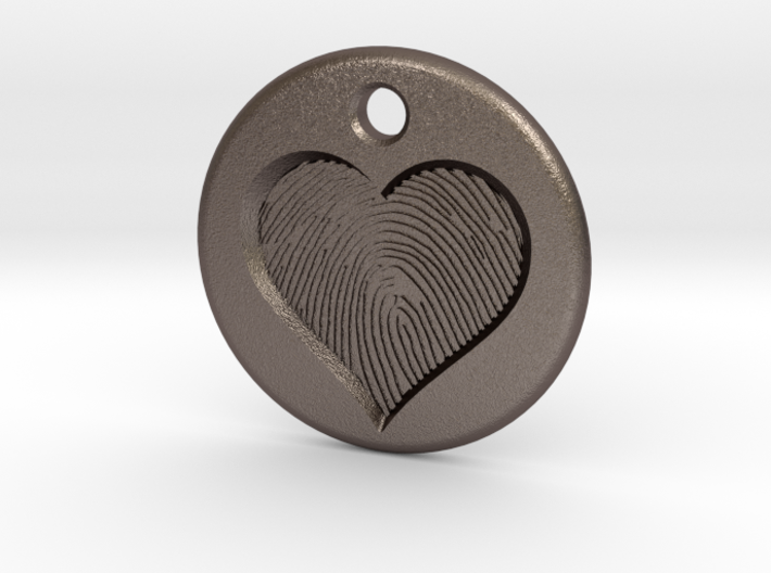 Heart pendent with finger print 3d printed