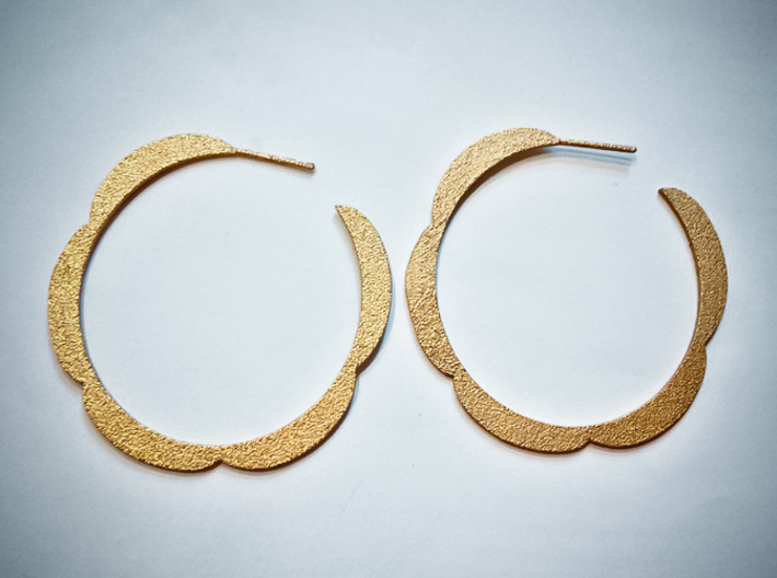 Flower hoop earrings 3d printed