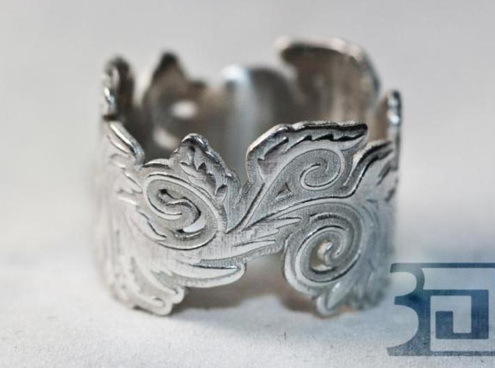 Blossom ring 3d printed Silver Polished