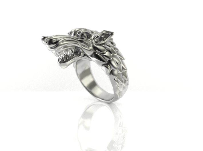 Size 8 Direwolf Ring 3d printed