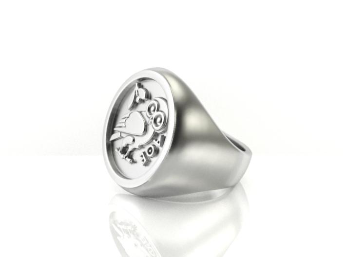 Owl of Wisdom ring 3d printed
